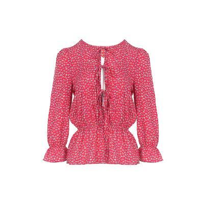 floral pattern front ribbon blouse pink